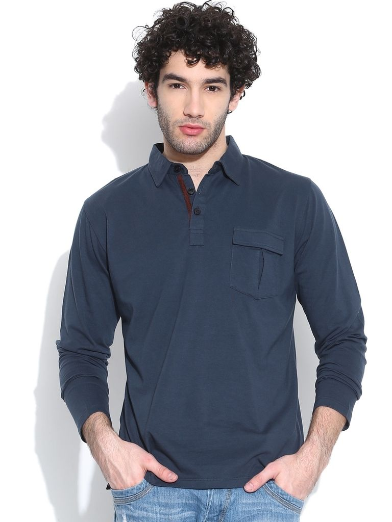 Buy Cult Fiction Polo With Long Sleeves D-blue T-shirt For Mens online