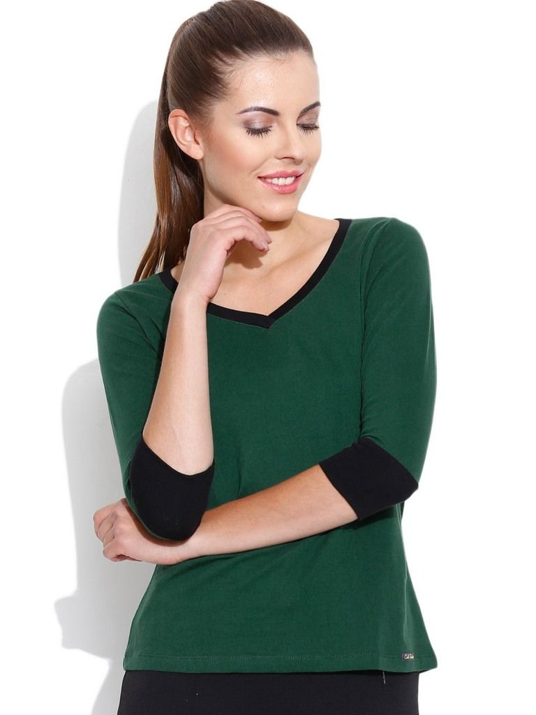 Buy Cult Fiction V-neck With 3/4 Sleeves Dark Green T- Shirts For Womens online