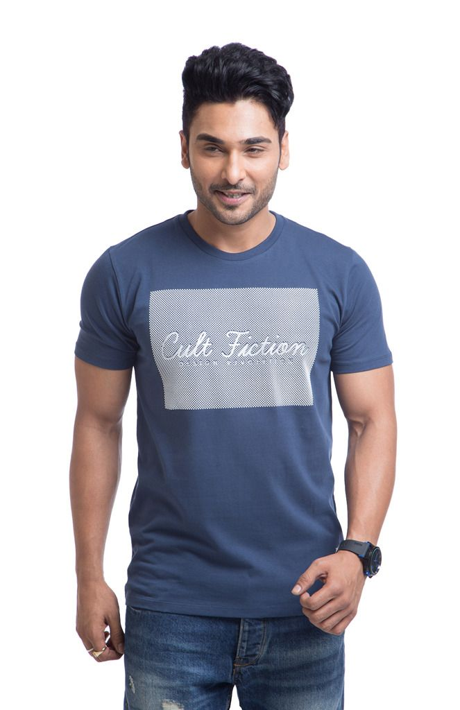 Buy Cult Fiction Cotton Blue Printed Men