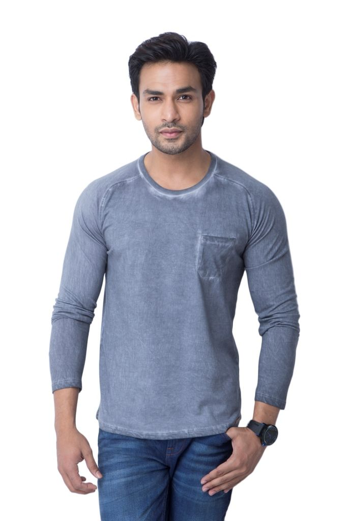 Buy Cult Fiction Cotton Round Neck Grey Mens Full Sleeve T-shirt ...