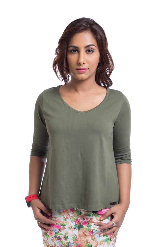 Buy Cult Fiction Cotton Green Solid Women
