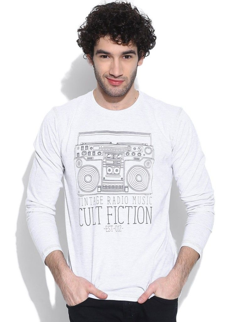 Buy Cult Fiction Round Neck Full Sleeves With Graphic White Marl T-shirt For Mens online