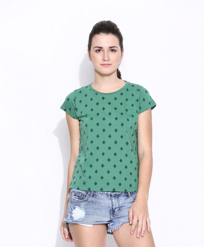 Buy Cult Fiction Green Cotton Printed Cap Sleeve Tee For Women online