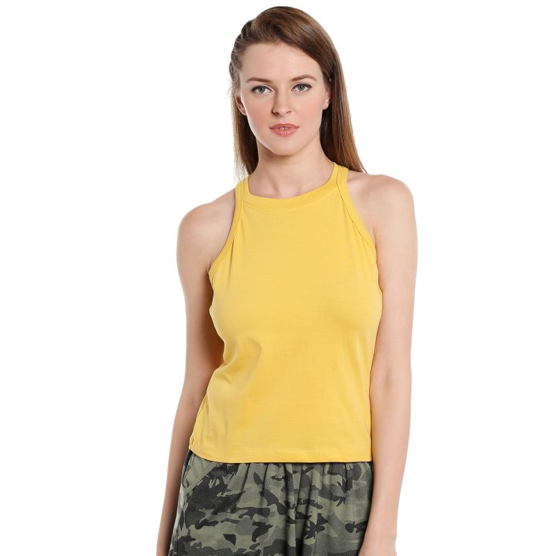 Buy Cult Fiction Sleeveless Slim Fit Round Neck Medium Yellow color T-shirt for women online