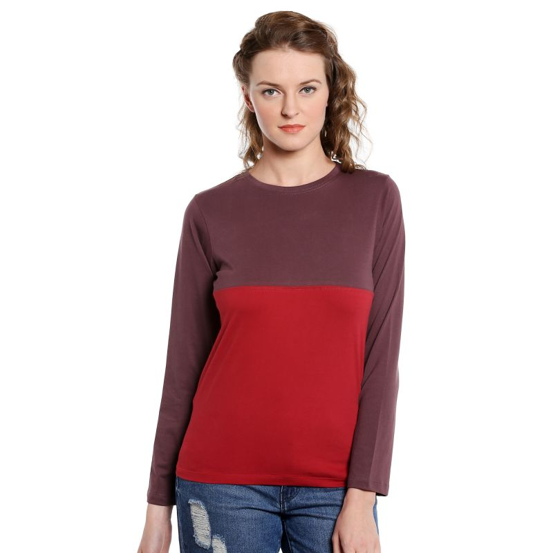 Buy Cult Fiction Long Sleeves Comfort Fit Round Neck Maroon color T-shirt for women online