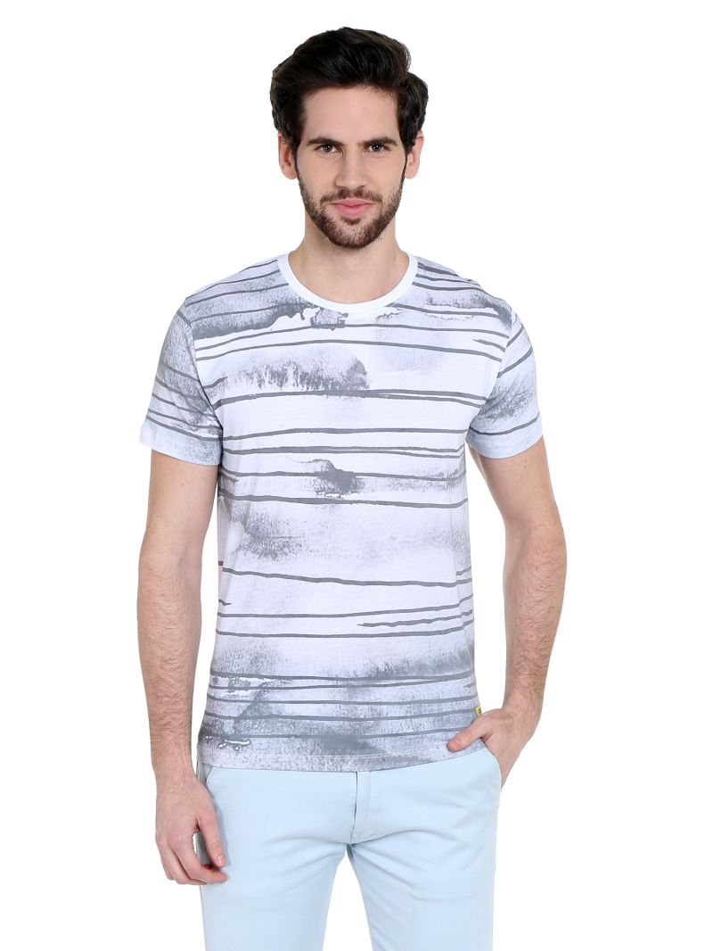 Buy Cult Fiction Comfort Fit Round Neck White Color Half Sleeves T-shirt For Men-cfm01wh1028 online