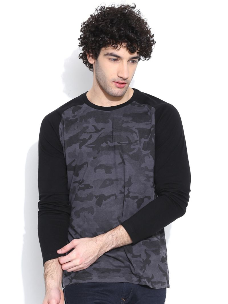 Buy Cult Fiction Comfort Fit Full Sleeves Charcoal T-Shirt For Men online