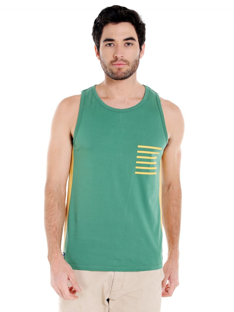 Buy Cult Fiction Round Neck Green Color Sleeveless Cotton T-shirt For Men online