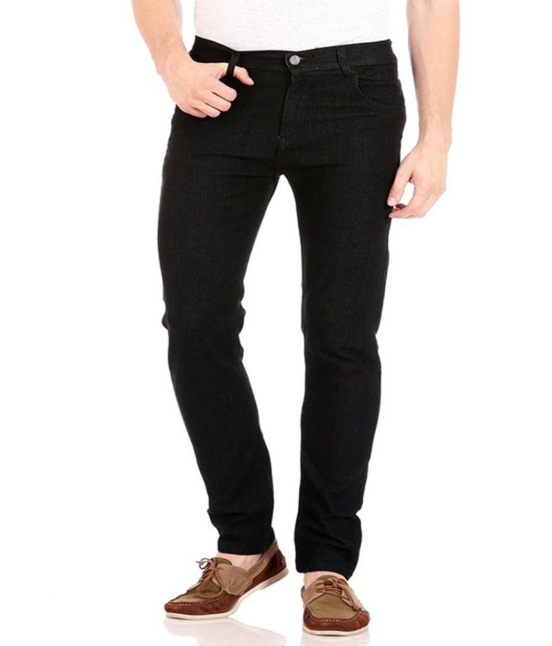 Buy Masterly Weft Black Cotton Blend Regular Men'S Jeans online