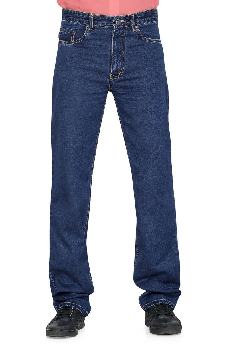 Buy Masterly Weft Blue Cotton Blend Regular Men'S Jeans online