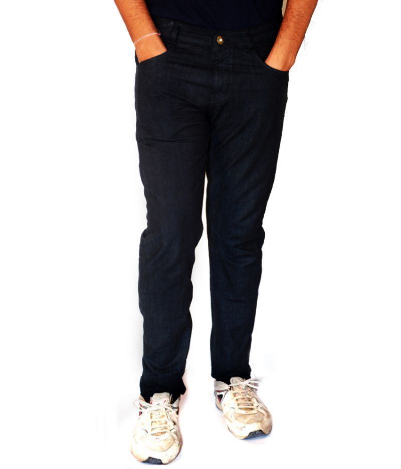 Buy Masterly Weft Mens Cotton Regular Non-stretch Black Jeans - (product Code - D-jen4-1) online
