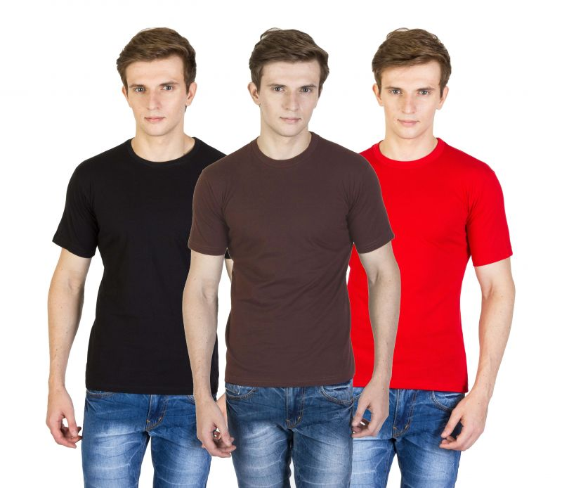 Buy Firemark Pack Of 3 Black, Brown & Red Cotton T Shirts For Men online