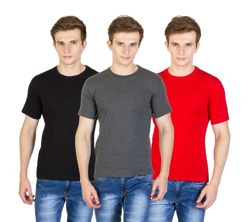 Buy Firemark Pack Of 3 Black, Gray & Red Cotton T Shirts For Men online