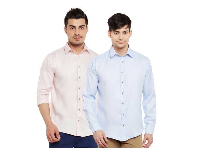 Buy Firemark Dorra Combo Pack Of Light Pink & Blue Casual Shirt online
