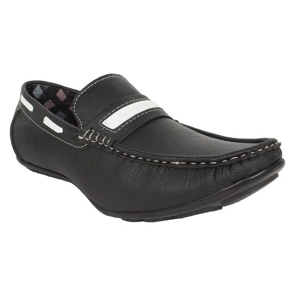Buy Firemark Mens Artificial Leather Black Slip On Loafers - (product Code - Frical-202blk) online