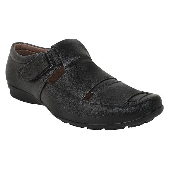 Buy Firemark Mens Artificial Leather Black Slip On Sandals - (product Code - Frical-s-2black) online