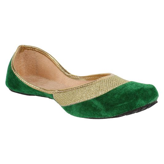 Buy Sassily Green Artificial Leather Jutis For Women-(code-ss-217) online