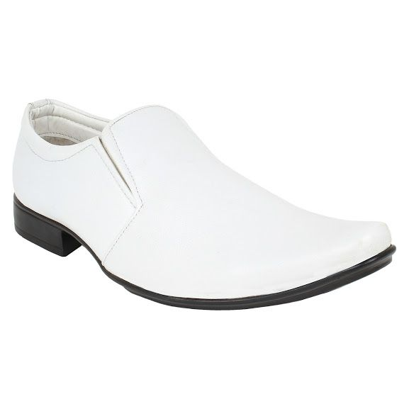 Buy Firemark Mens Artificial Leather White Slip on Formal Shoes online