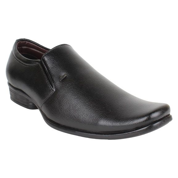 Buy Firemark Mens Artificial Leather Black Slip on Formal Shoes online
