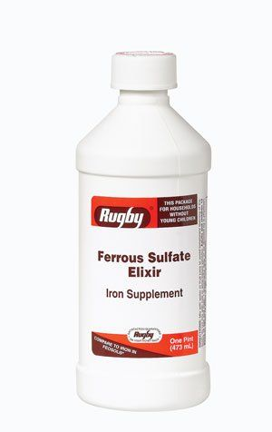 Buy Ferrous Sulfate Elixir Iron Supplements By Rugby Laboratories - 16 Oz online
