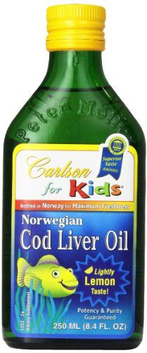 Buy Carlson Labs Norwegian Carlson For Kids Natural Vitamin E Cod Liver Oil, Lemon, 250ml Glass Bottle online