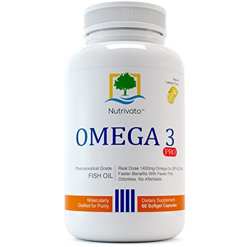 Buy Nutrivato Omega 3 Pro - (800mg Epa / 600mg Dha) Fish Oil Pills, (3x) Triple Strength Supplement, Burpless - 60 Count - Best 100% Guarantee online