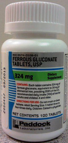 Buy Pack Of 3 Each Ferrous Gluconate 324mg Padd 100tb Pt#574050801 online
