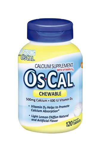 Buy Os-Cal Chewable  Calcium 500   600iu  D3, Lemon Chiffon Flavor, 120 Chewable Tablets online