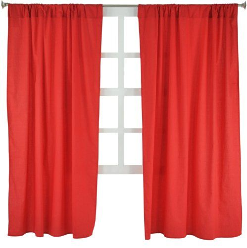 Buy Tadpoles Basics Set Of 2 Curtain Panels Solid Red 63 Online