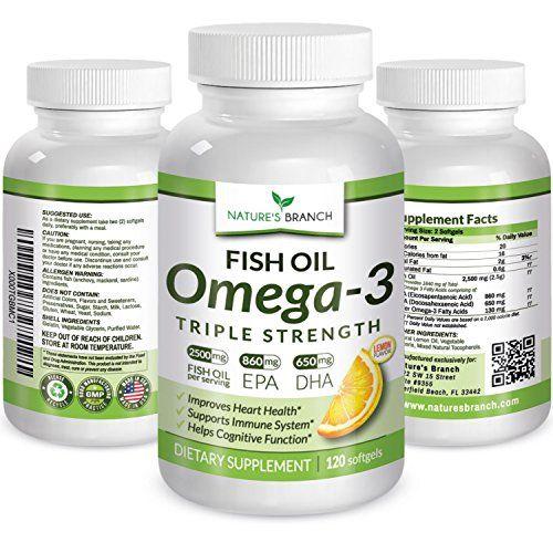 Buy Best Triple Strength Omega 3 Fish Oil Supplements 2,500mg High Potency Lemon Flavor 860mg Epa 650mg Dha Burpless Pharmaceutical Grade 120 Caps online