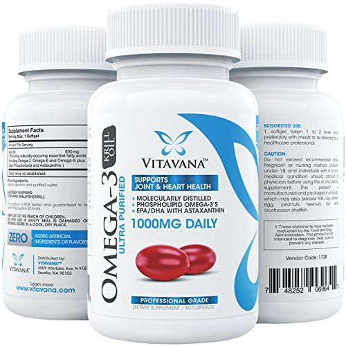 Buy Vitavana Krill Oil 1000mg Daily :: #1 Triple-Strength Omega-3 Krill Oil Supplement with EPA/DHA & Astaxanthin :: Promotes Heart online