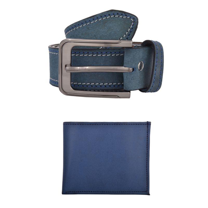 Buy Exotique Men's Blue Casual Belt & Wallet Combo (ec0004bl) online