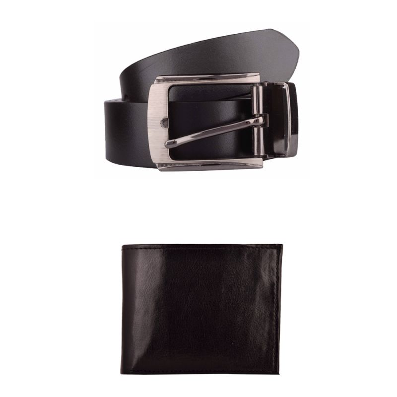 Buy Exotique Men's Black Formal Belt & Wallet Combo (ec0005bk) online