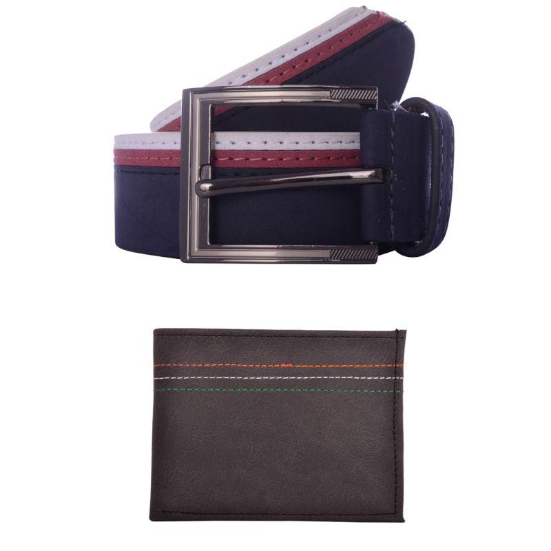Buy Exotique Men's Navy Casual Belt & Wallet Combo (ec0012ny) online