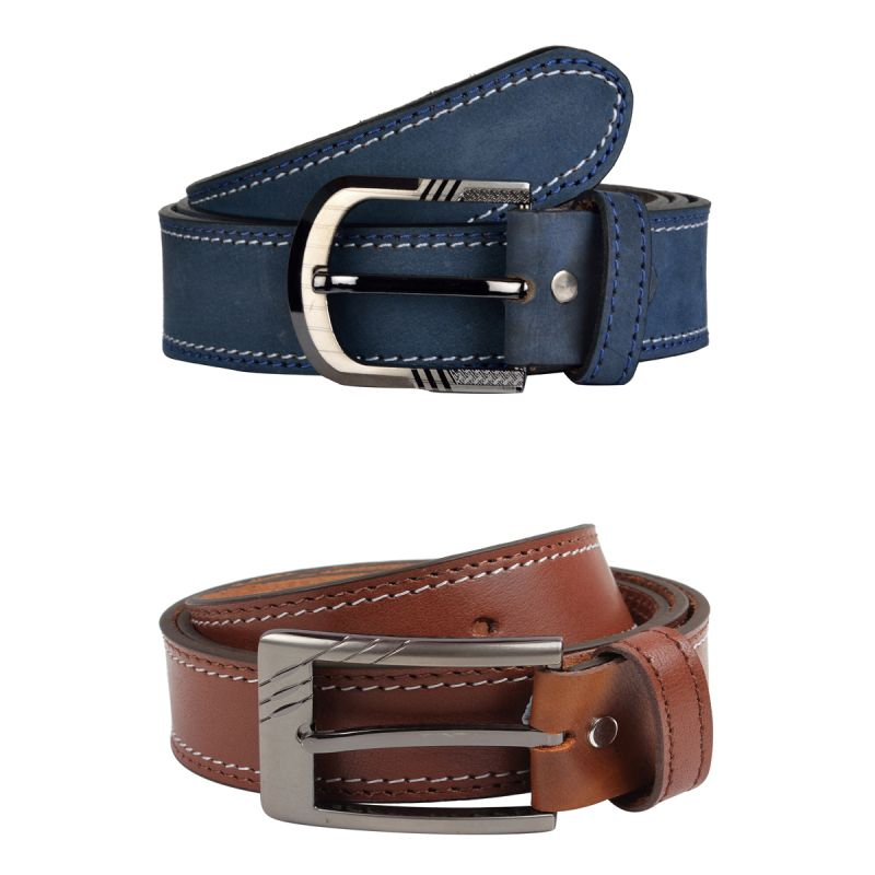 Buy Exotique Men's Blue & Tan Casual Belt Combo online