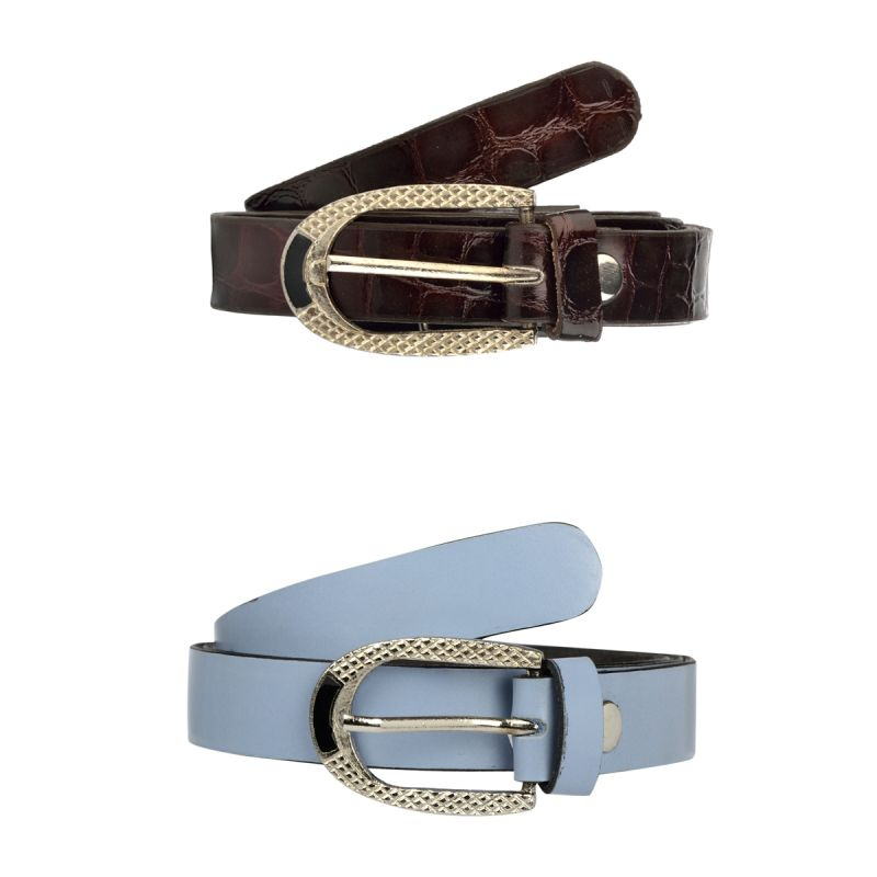 Buy Exotique Women's Brown & Blue Casual Belt Combo (wc0001mu) online