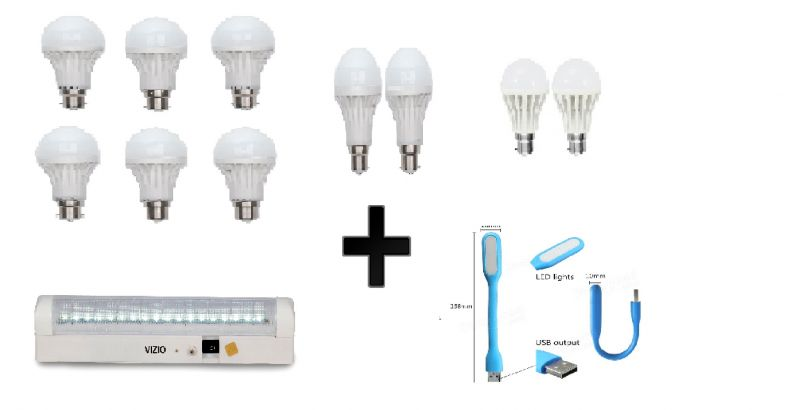 Buy Vizio Combo Of 15 W LED Bulbs(set Of 6), 12 W LED Bulbs(set 2), 7 W LED Bulbs(set 2) With Emergency Light(36 Led) & USB Light online