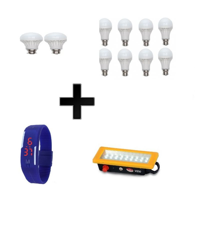 Buy Vizio Combo 7w LED Bulbs(set Of 8) , 3w LED Bulbs(2) , Emergency Light(18 Led) & Digital Watch online