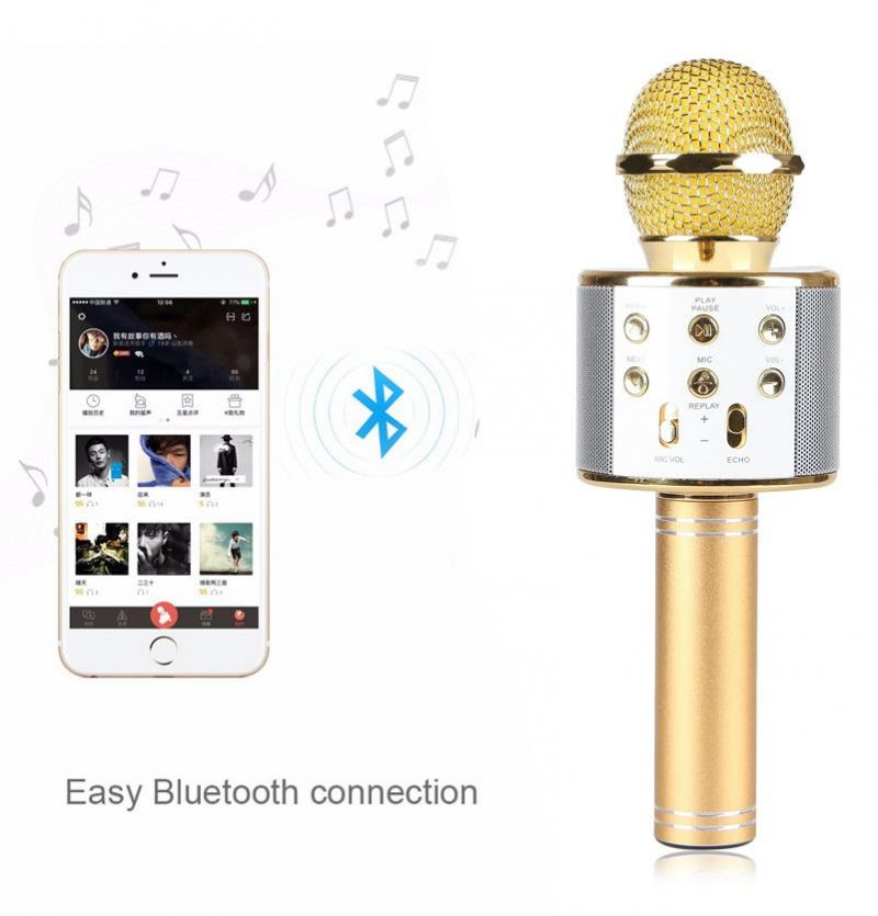 Buy Handheld Ktv Microphone Wireless Bluetooth Karaoke Mic Speaker USB Player online
