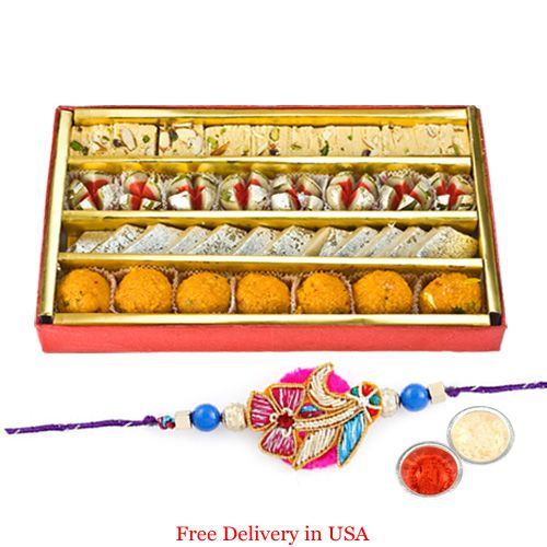 Buy Assorted Sweets With Rakhi For Usa online