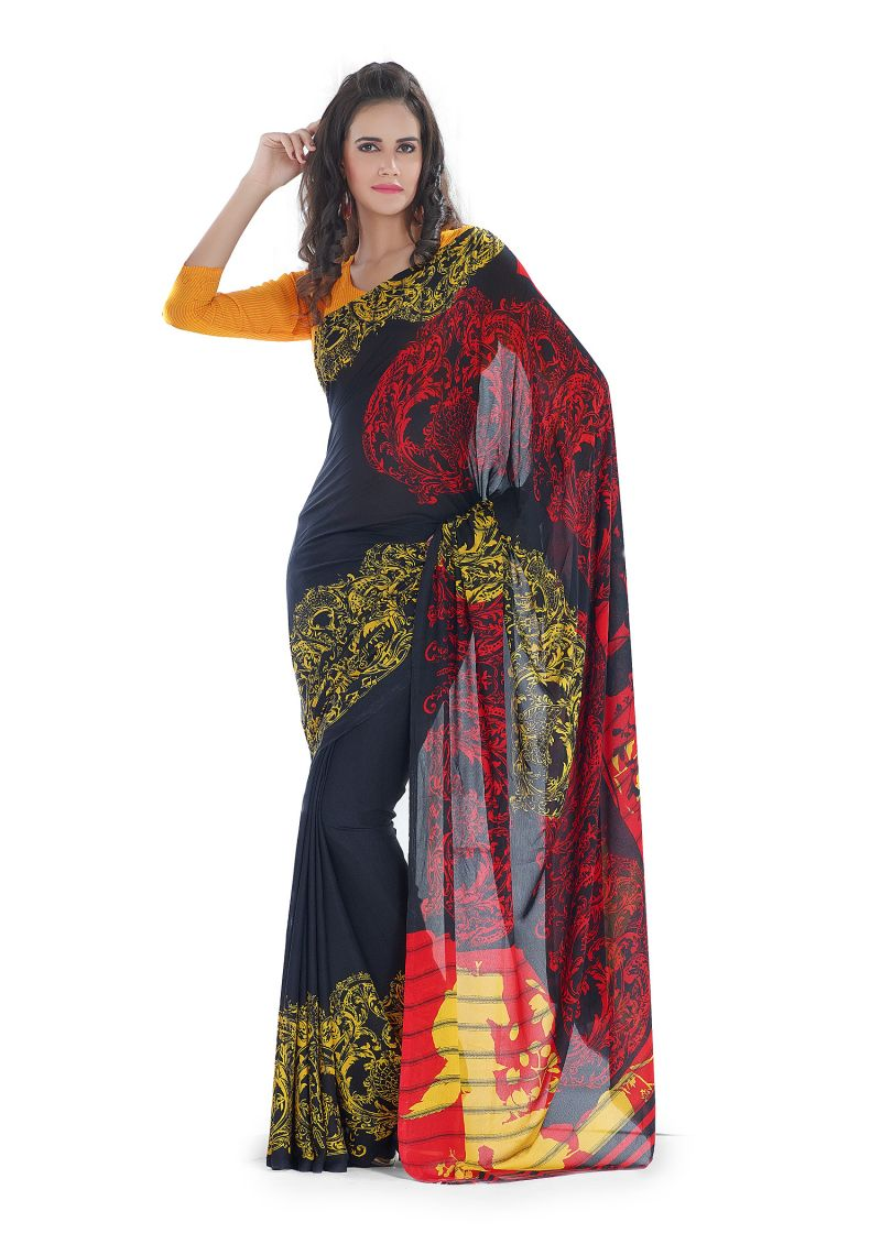 Buy Royal Choice Georgette Multicolor Saree online