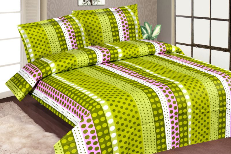 Buy Royal Choice Green Cotton Double Bedsheet Alongwith Two Pillow Covers online