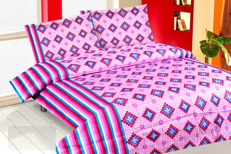 Buy Royal Choice Purple Cotton Double Bedsheet Alongwith Two Pillow Covers online