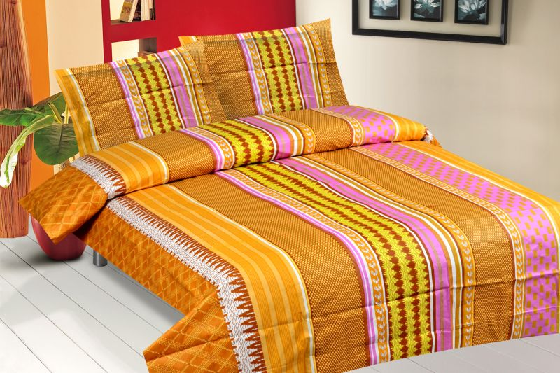 Buy Royal Choice Multi Colour Cotton Double Bedsheet Alongwith Two Pillow Covers online