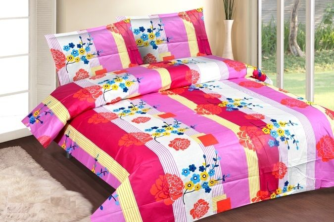 Buy Royal Choice Pink Cotton Double Two Bedsheet Alongwith Two Pillow Covers online