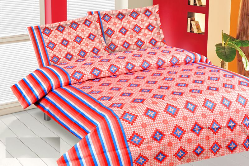 Buy Royal Choice Red Cotton Double Bedsheet Alongwith Two Pillow Covers online