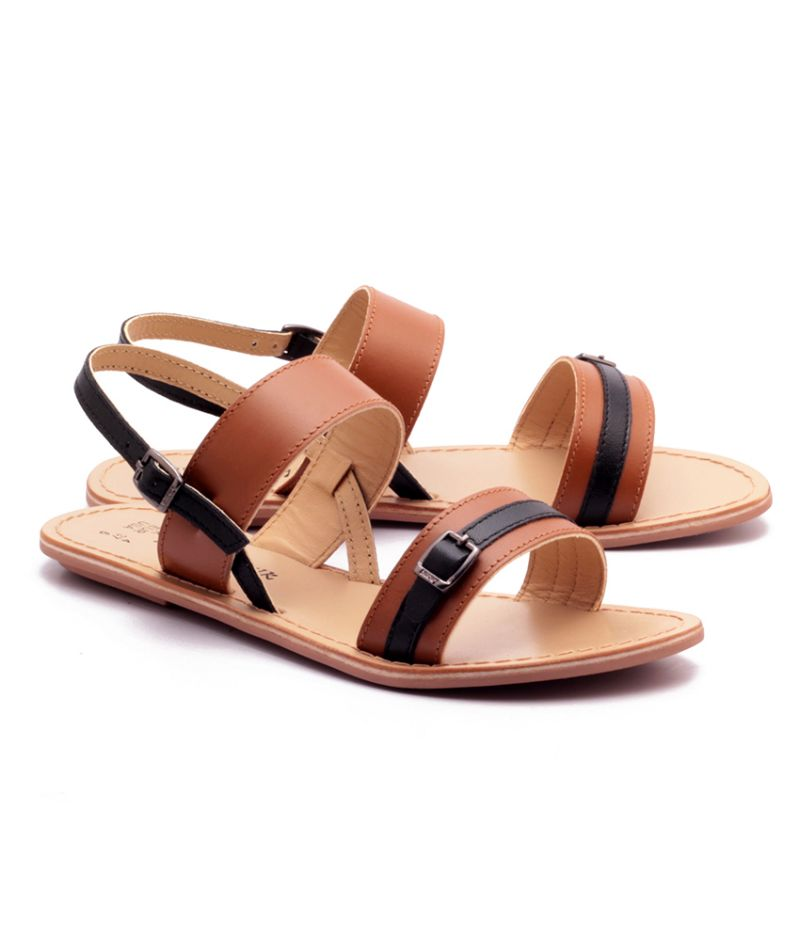 Buy Naughty Walk Tan & Black Genuine Leather Sandals online