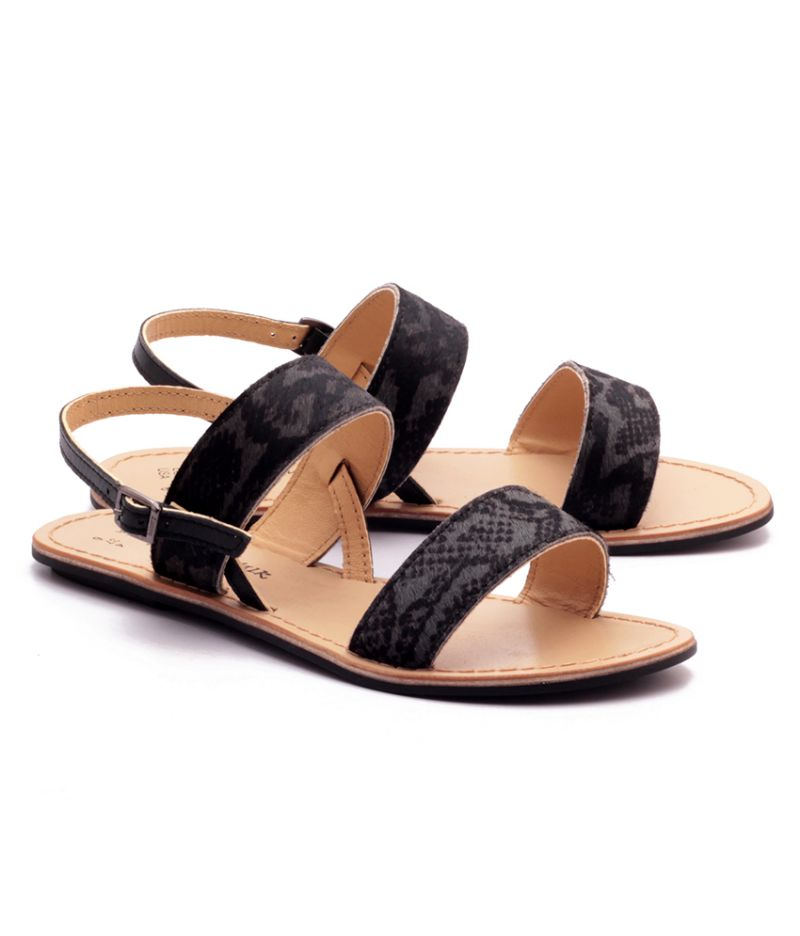 Buy Naughty Walk Grey & Black Genuine Leather Sandals online