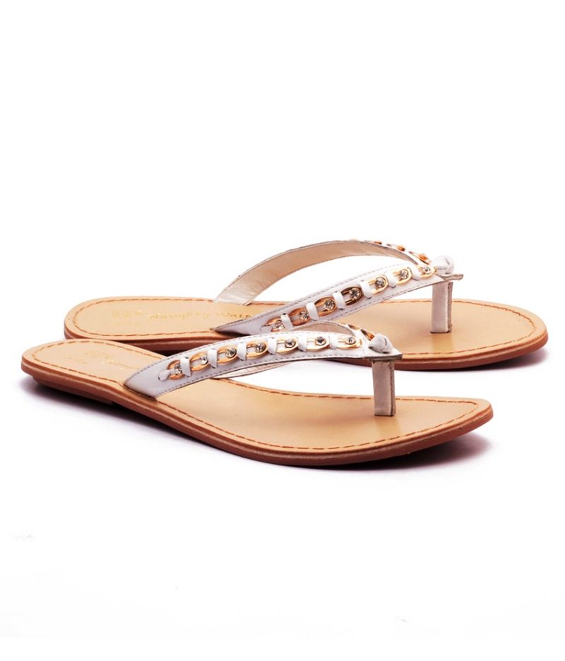 Buy Naughty Walk White Strap Genuine Leather Sandals online