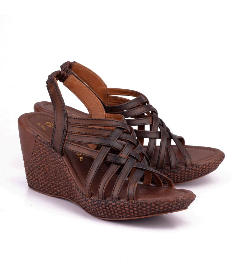 Buy Naughty Walk Brown Genuine Leather Wedges online